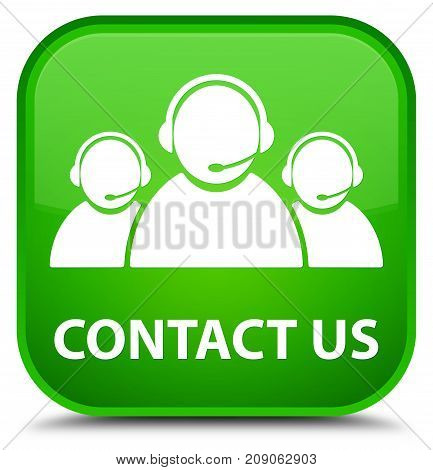 Contact Us (customer Care Team Icon) Special Green Square Button