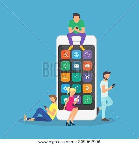 Young children are near a large smartphone and using phones to read news and communicate. Flat design.
