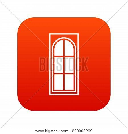 Wooden door with glass icon digital red for any design isolated on white vector illustration