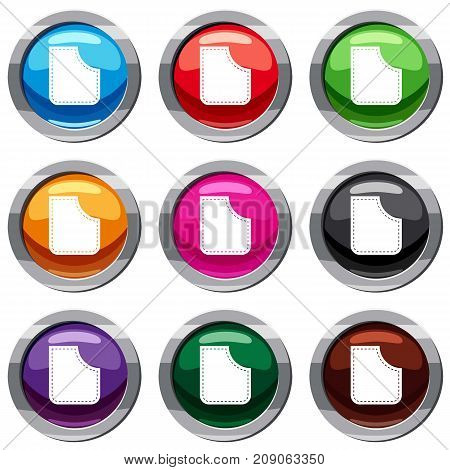 Abstract pocket set icon isolated on white. 9 icon collection vector illustration