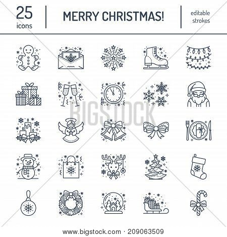 Christmas, new year flat line icons. Winter holidays - christmas tree gift, snowman, santa claus, fireworks, angel. Vector illustration, signs for celebration xmas party.