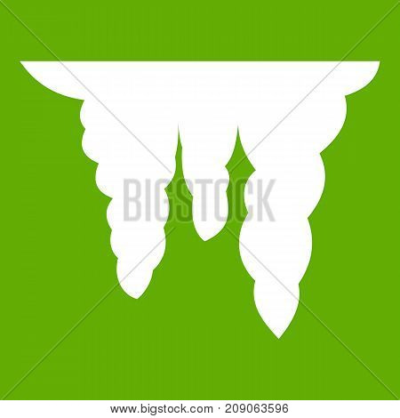 Icicles icon white isolated on green background. Vector illustration