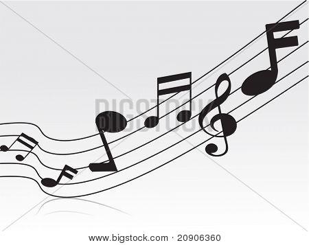 flying musical notes vector illustration