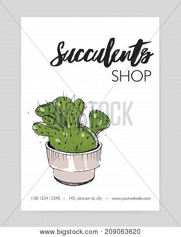 Modern flyer template with green cactus growing in pot hand drawn on white background. Desert plant with thorns, decorative potted succulent. Vector illustration for floristry shop advertisement