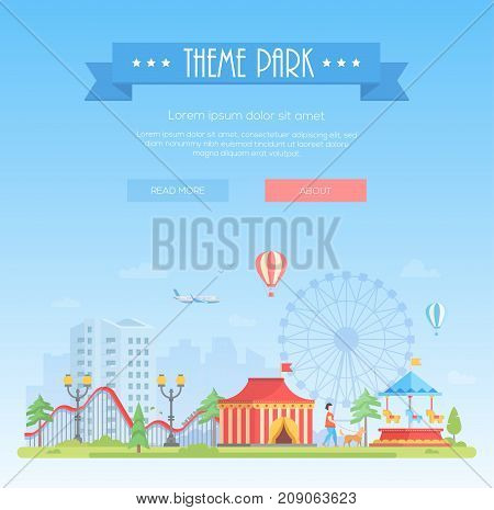 Theme park - modern flat design style vector illustration on urban background with place for text. Title on blue ribbon. Cityscape with attractions, circus pavilion, big wheel. Entertainment concept