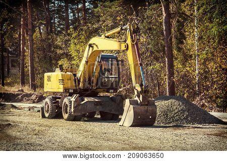 Excavator On Road Works, Horizontal
