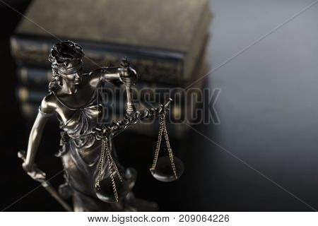 Law theme. Books. Scale of justice, statue of justice.