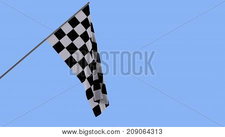 Finishing checkered flag on a wooden pole on a blue background 3D rendering