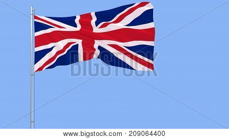 Flag of Great Britain on a flagpole fluttering in the wind on blue background 3d rendering