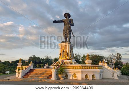 Royal Statue Of King Chao Anouvong (xaiya Setthathirath V), Lao King From The Last Monarch Of The Ki