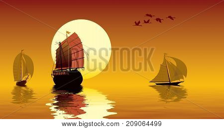 Tropical sunset ocean sailing ships and flying birds