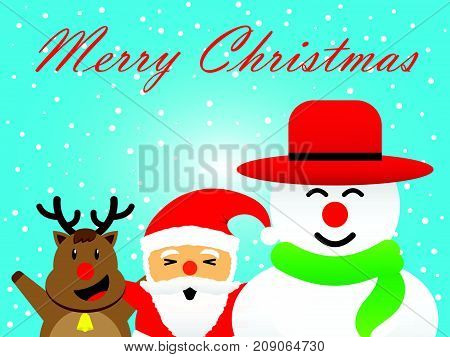 Vector Illustration Of Merry Christmas Three Companions Cute Reindeer Plump Santa Claus And Chubby Snowman Is Standing Together Happily Among Snow On Blue Background Greeting For Winter Holiday.