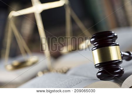 Legal office of lawyers and attorney. Jugde gavel.