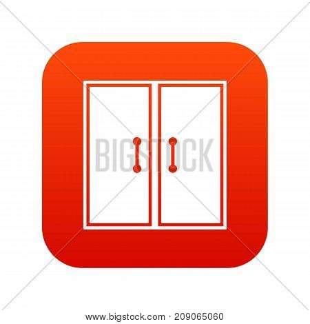 Two glass doors icon digital red for any design isolated on white vector illustration