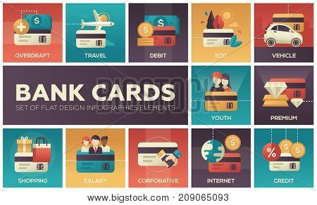 Bank cards - set of flat design infographics elements. Colorful square icons. Overdraft, travel, debit, eco, vehicle, youth, premium, shopping, salary, corporative, internet, credit