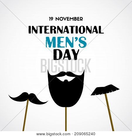 International men's day vector greeting card with party masks beard and mustache on sticks