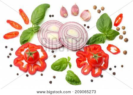 Mix Of Slice Of Tomato, Red Onion, Basil Leaf, Garlic, Sweet Bell Pepper And Spices Isolated On Whit
