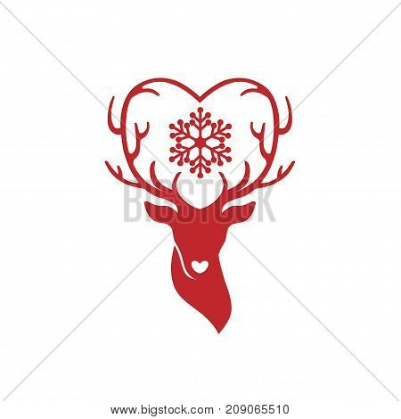 head of deer with antlers love, deer love alters logo concept,,stag alters with love logo