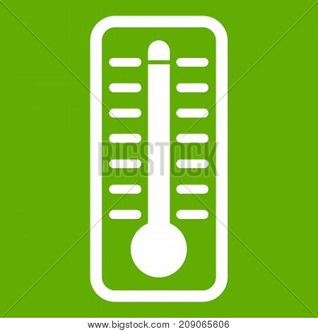 Thermometer indicates extremely high temperature icon white isolated on green background. Vector illustration