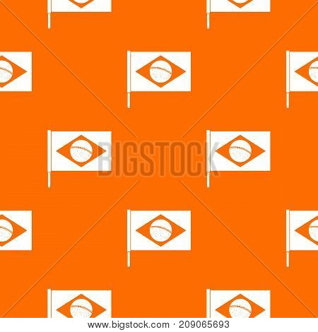 Flag of Brazil pattern repeat seamless in orange color for any design. Vector geometric illustration