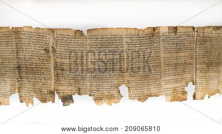 One Of Dead Sea Scrolls, Displayed In Shrine Of The Book. Israel Museum, Jerusalem. Israel.
