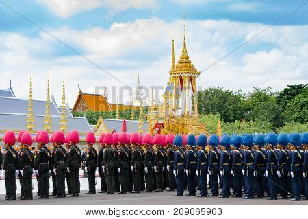 BANGKOK Thailand - October 15 2017: Three procession rehearsals for the Royal Cremation of His Majesty the late King Bhumibol Adulyadej (King Rama IX) at Sanamluang close to the Grand Palace and the Emerald Buddha Temple
