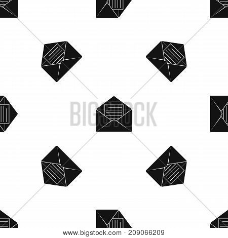 Envelope with sheet of paper pattern repeat seamless in black color for any design. Vector geometric illustration