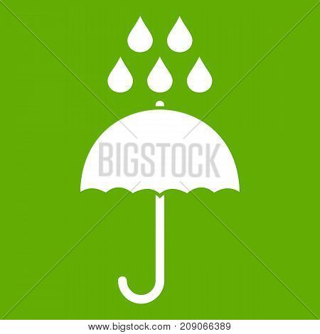 Umbrella and rain drops icon white isolated on green background. Vector illustration