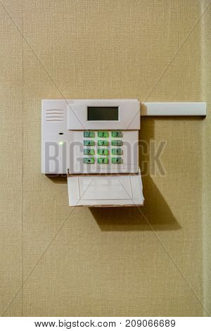 Alarm control panel with sensors and display