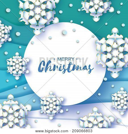 Origami Christmas Greetings card. Paper cut snow flake. Happy New Year. Winter snowflakes background. Circle frame. Space for text. Blue mountains. Landscape. Vector illustration.