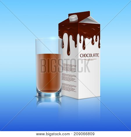 Milk chocolate in the package with a full glass of cocoa realistic. Pack drink cocoa sweet, vector illustration