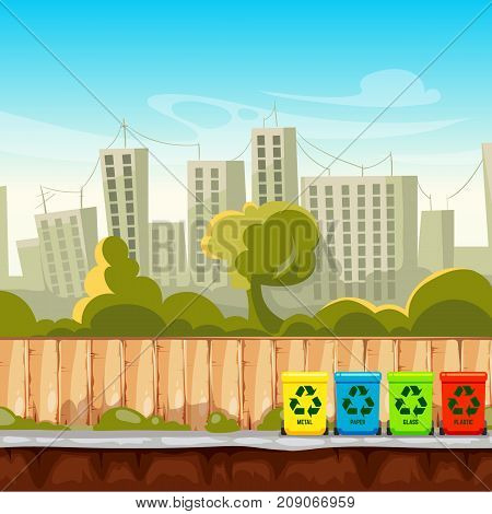 Recycle waste bins with cityscape background. Waste management concept. Recycle trash bin, separation and sorting container. Vector illustration