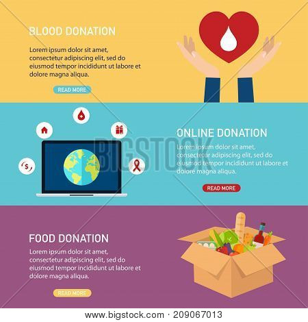Donation vector concept illustrations. Blood donation online donation food donation. Donation boxes. Concept for web banners websites infographics.