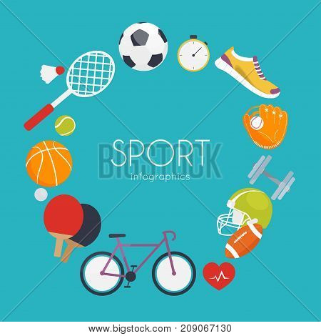 Concept of sport infographics. Icons for web: fitness sport equipment and metrics. Flat design vector illustration.