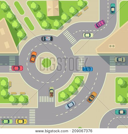 Urban cars seamless texture. Vector background. Road intercharge with cars. Transportation highway junction illustration