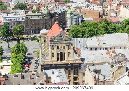 Ensemble of the Jesuit Church of Sts. Peter and Paul built in the 17-th century view from tower of city town hall in Lviv Ukraine