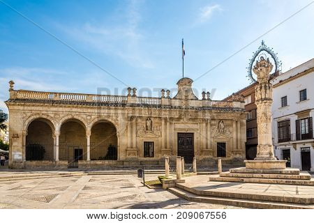 JEREZ DE LA FRONTERA,SPAIN - SEPTEMBER 30,2017 - Old City hall at the Asuncion square in Jerez de la Frontera. Jerez is known as the city of flamenco sherry horses and motorcycles.