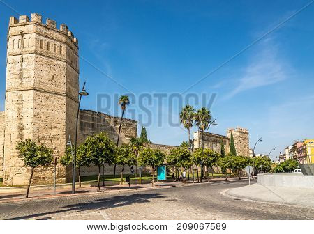 JEREZ DE LA FRONTERA,SPAIN - SEPTEMBER 30,2017 - View at the Alcazar wall of Jerez de la Frontera. Jerez is known as the city of flamenco sherry horses and motorcycles.