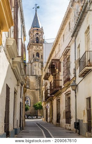JEREZ DE LA FRONTERA,SPAIN - SEPTEMBER 30,2017 - San Miguel church in the streets of Jerez de la Frontera. Jerez is known as the city of flamenco sherry horses and motorcycles.