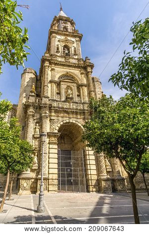 JEREZ DE LA FRONTERA,SPAIN - SEPTEMBER 30,2017 - View at the San Miguel church in Jerez de la Frontera. Jerez is known as the city of flamenco sherry horses and motorcycles.