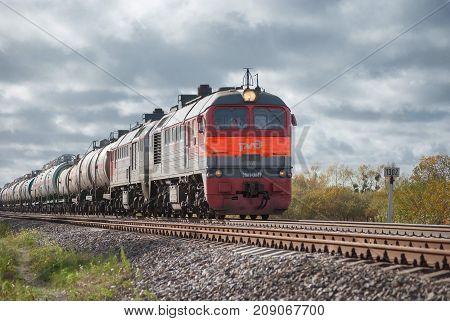 Kaliningrad region Russia - October 15 2017: diesel locomotive pulls freight wagons