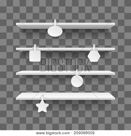 Empty supermarket retail shelves with advertising wobblers isolated on white background. Wobbler on empty shelf. Vector illustration