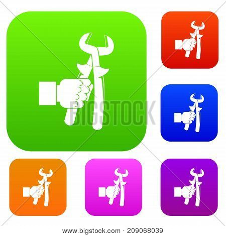 Hand holdimg calipers set icon color in flat style isolated on white. Collection sings vector illustration