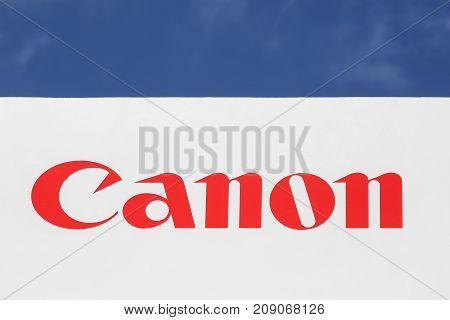 Kolding, Denmark - July 9, 2017: Canon logo on a facade. Canon is a Japanese multinational corporation specialized in the manufacture of imaging and optical products