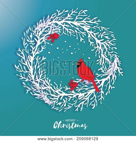3D Origami Christmas Wreath with Red Cardinal and Rowan berry. Paper cut tree branch. Bird. Happy New Year. Winter snowflakes. Circle carving frame. Text. Blue background. Vector illustration.