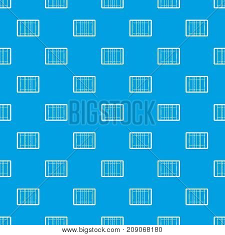 Rugby field pattern repeat seamless in blue color for any design. Vector geometric illustration
