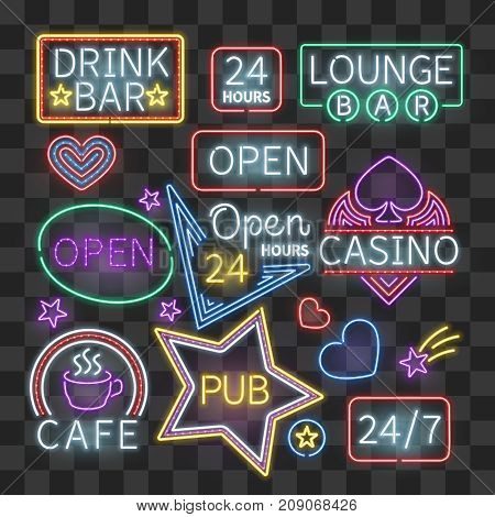 Realistic neon bar illumination signs isolated on transparent background. Illuminated glowing signboard cafe and pub, vector illustration