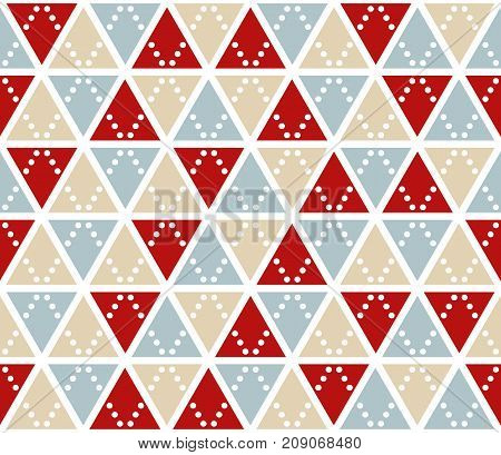 Vector abstract background, seamless pattern. Christmas colors triangles texture. Red silver gold geometric mosaic pattern. Simple backdrop design for xmas card.