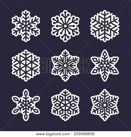 Snowflake flat icons set. Collection of cute geometric snowflakes, stylized snowfall. Design element for christmas or new year card, winter ornament. Frozen snow flakes silhouette on stickers.
