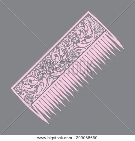 Pink comb on a gray background. Print. Fashion and style. Hair comb made of a flower pattern.